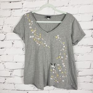Torrid Gray Tshirt with Floral Embroidery